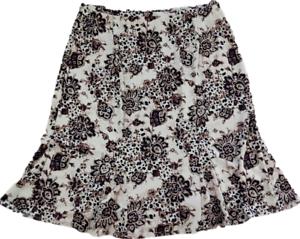 Apostrophe-Knee-Skirt-Beige-Black-Floral-Stretchy-Pleated-Hem-Size-XL