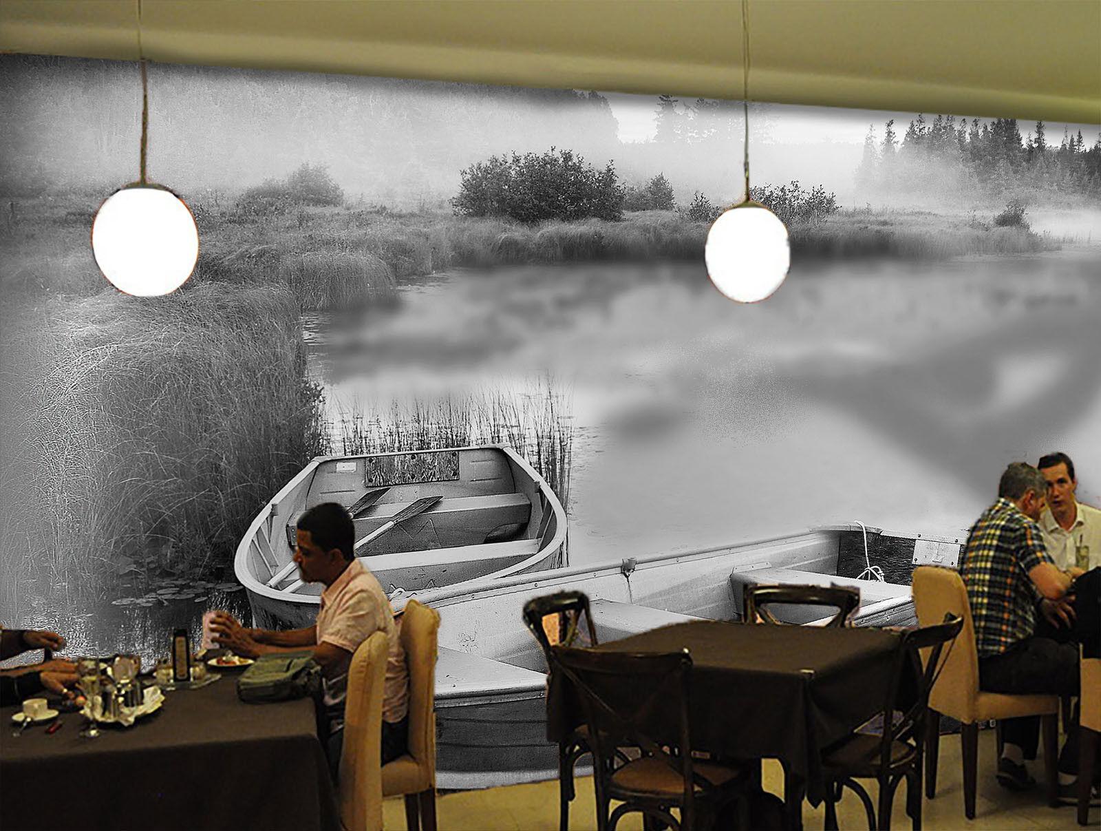 Papel Pintado Mural De Vellón Niebla Lagos Barco 22 22 Barco Paisaje Fondo De Pantalla ES 32216e