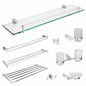Bathroom accessories wall mounted chrome glass shelves Glass toilet roll holder