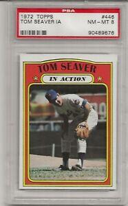 1972 TOPPS #446 TOM SEAVER, IN ACTION, PSA 8 NM-MT, HOF, NEW YORK METS