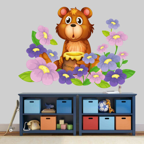 Teddy Bear Flower VINYL WALL STICKER DECALS CHILDREN Decoration Room 180