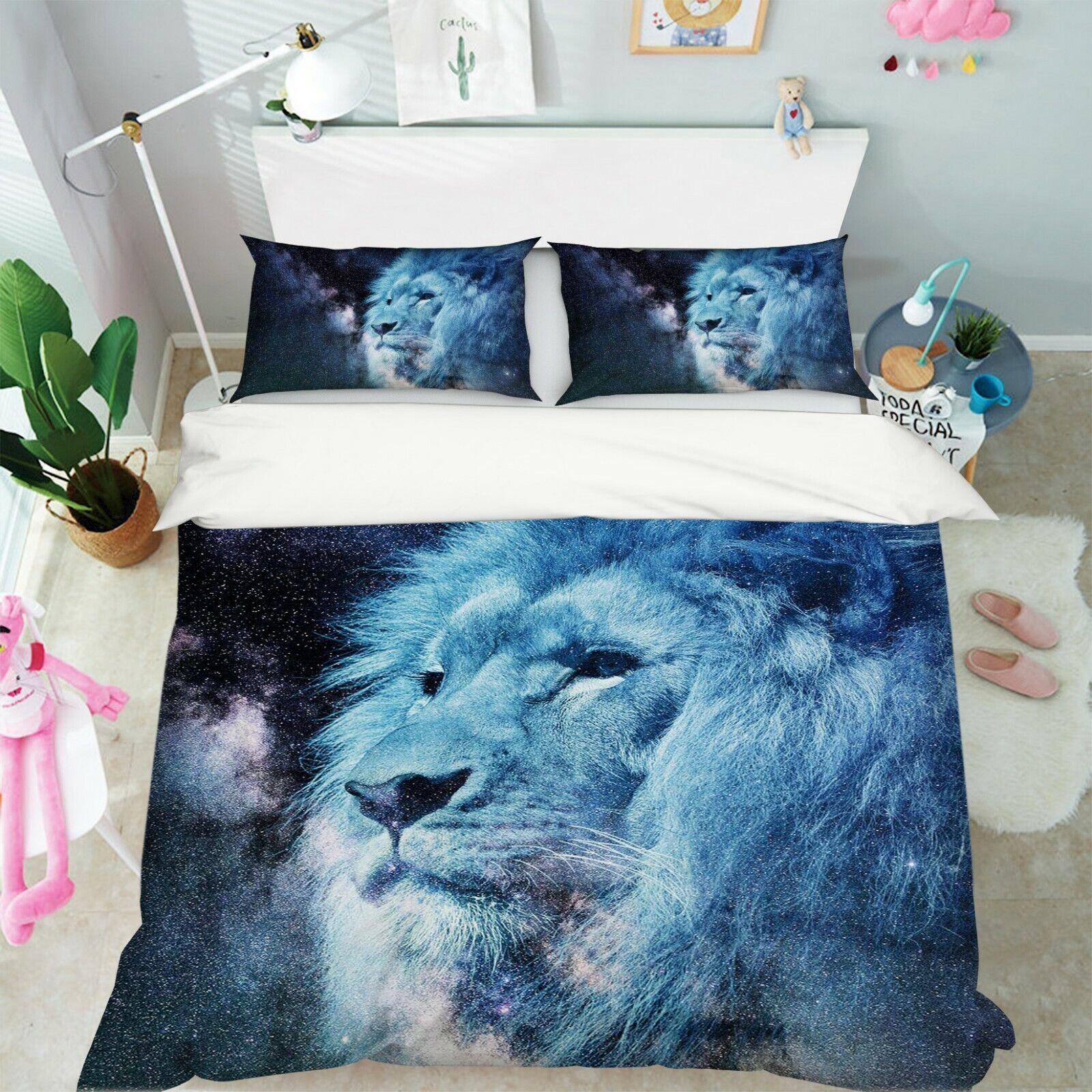3D Löwe M69 Tier Bett Kissenbezüge Decke Bettdecke Abdeckung Set Angelia