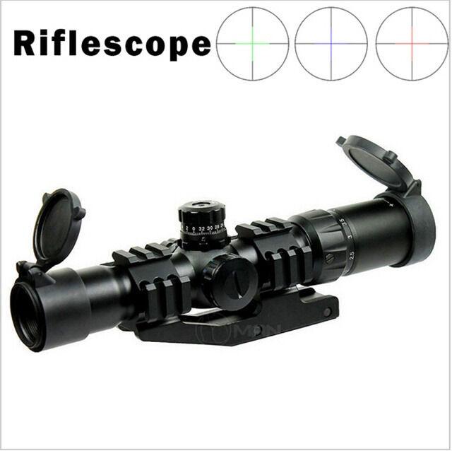 Hunting Scopes 1.5-4X30 Tactical Rifle Scope w/ RGB illuminated Reticle w/ Mount