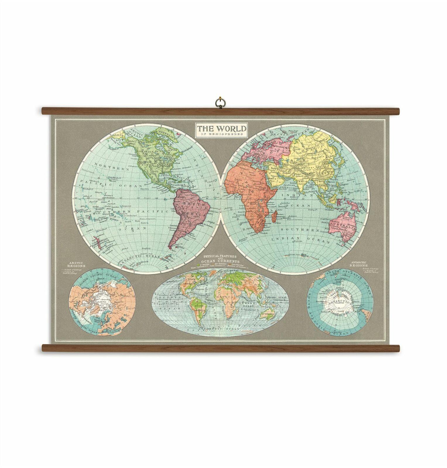 Cavallini - Ready To Hang Vintage School Chart-100x70cms - Hemispheres World Map