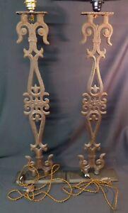 D 1930 Paire Grands Pieds Lampe Fer Forgé 90cm12kg Fleur Lys église Vintage