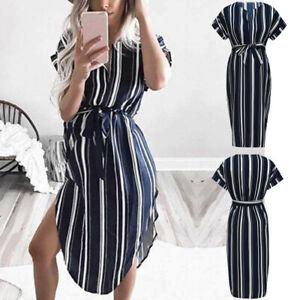 Women-Maternity-Pregnancy-Summer-Casual-Beach-Stripe-Short-Sleeve-Dress-Clothes