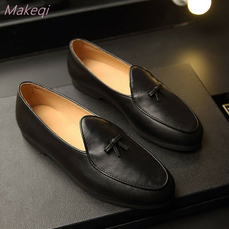 Uomo Pelle Slip on Flat Bowknot Business Casual Loafer Formal Belgian Scarpe