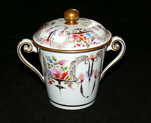 Spode-Double-Handled-Sugar-Bowl-with-Cover-2777-1814-Hand-Painted-Flowers-Gilt