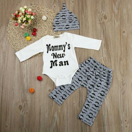 3PCS Set Newborn Baby Boy Romper Tops Shirt Long Pants Hat Outfits Clothes