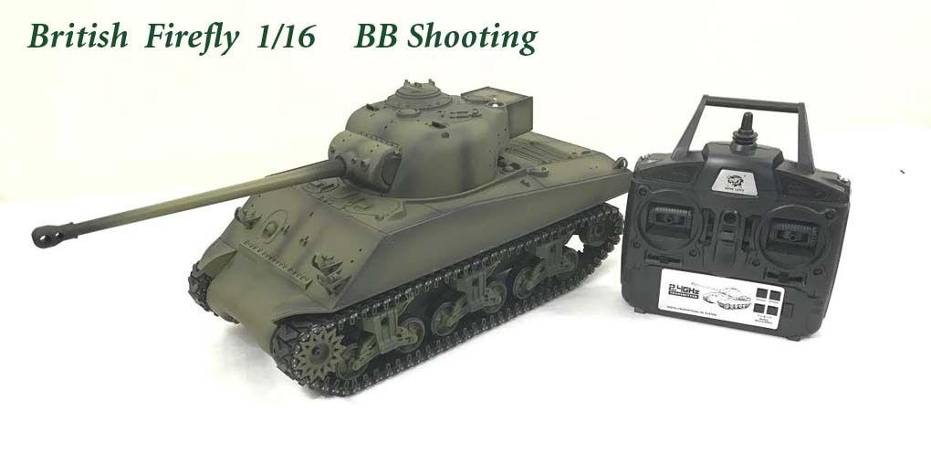 Radio Remoto Controllato Rc CARRO ARMATO 2.4 G Sherman Firefly Britannico 1/16 con 2 suoni