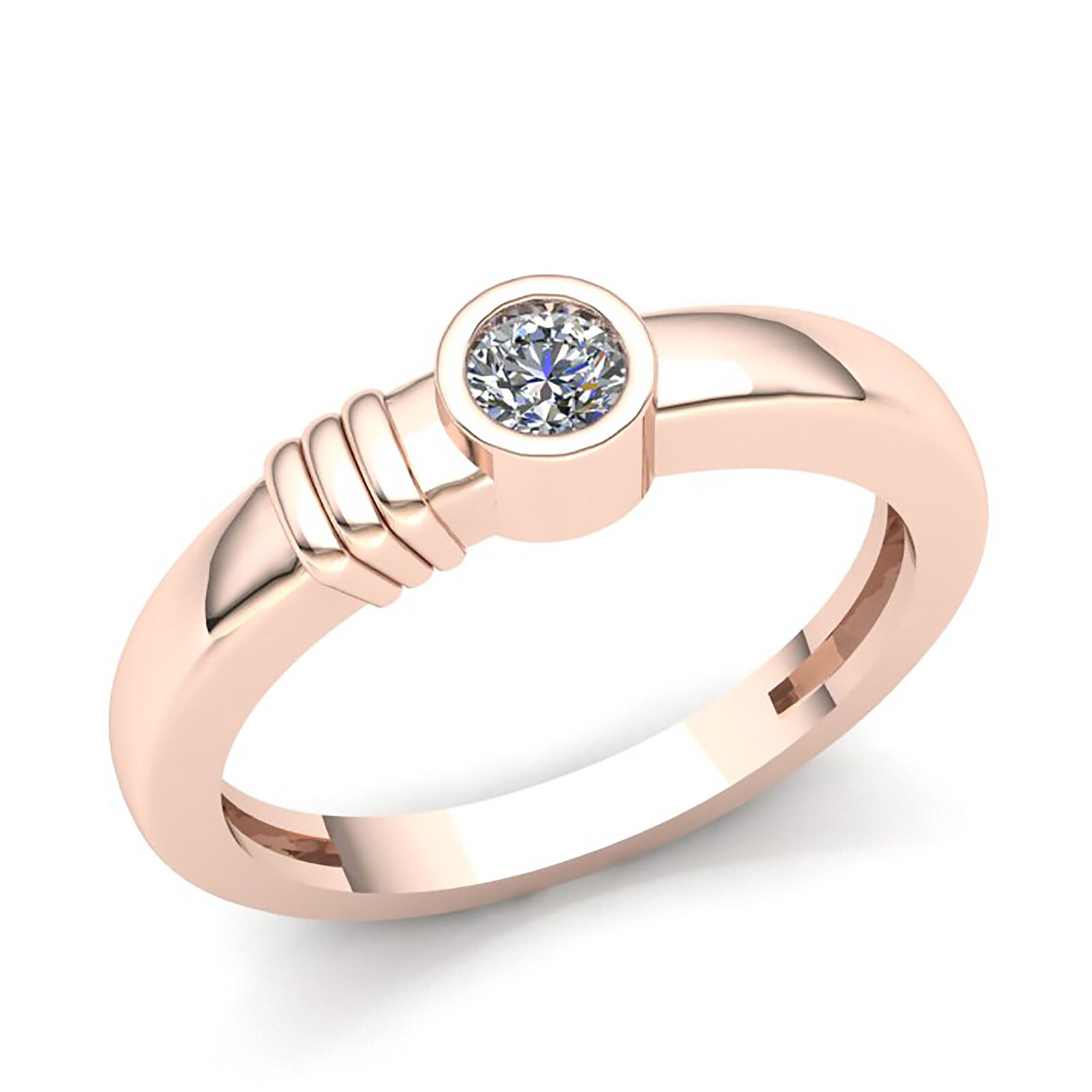 Genuine 0.25ctw Round Diamond Bridal Solitaire Engagement Ring Solid 18K gold