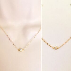Dainty cz necklace cubic zirconia pendant necklacegold filled image is loading dainty cz necklace cubic zirconia pendant necklace gold aloadofball Images