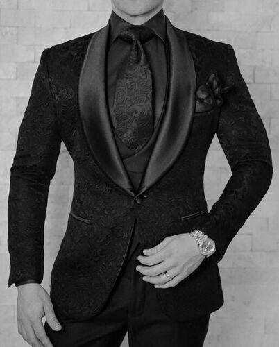 Black Groom Wedding Tuxedos Shawl Lapel Mens Prom Dinner Suits Jacket Vest Pants