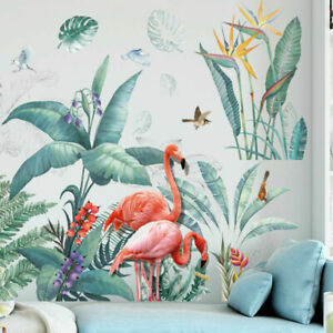 Tropical-Plant-Leaves-Flamingo-Removable-Wall-Sticker-Decal-Nursery-Decor-Gift