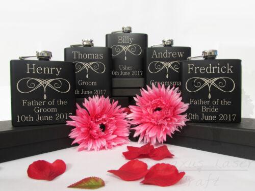 Personalised Engraved 6oz black Hip Flask.Best Man wedding favour Usher Box bhf7