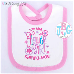 Personalised baby bib flower girl wedding day gift embroidered image is loading personalised baby bib flower girl wedding day gift negle Images
