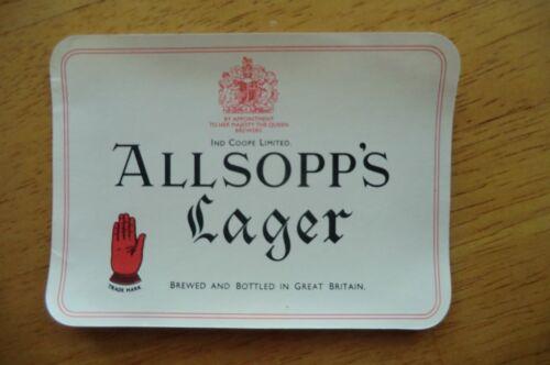 MINT ALLSOPP/'S LAGER LARGE BREWERY BOTTLE LABEL