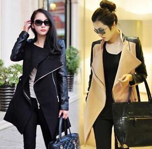 Women-039-s-Wool-Blend-Leather-Long-Sleeve-Coat-Lapel-Zipper-Jacket-Overcoat-Parkas