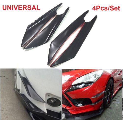 4pcs Universal Canards Black Auto Car Front Bumper Splitters Fins Spoiler Refit