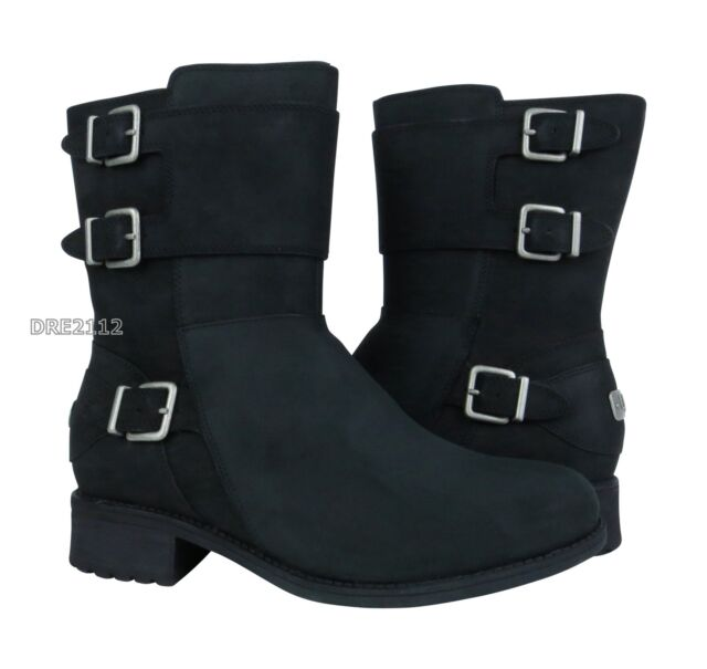 8c0a411b003 UGG Nubuck Leather BOOTS Wilcox Moto Black Women's Size 9