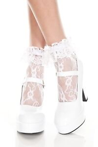 White-Black-Pink-Lace-Lace-Ruffle-Top-Ladies-Ankle-Socks-Sexy-Lingerie-P574