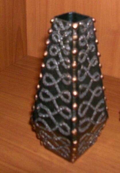 1 Vase Metall - Schwer Edle Verzierungen Ornamente Handarbeit !! Kunst Vase