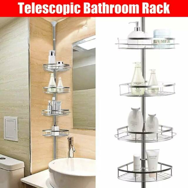 4 Tier Telescopic Pole Bathroom Corner Shower Storage Shelf Rack Organiser Caddy For Sale Online Ebay