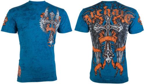 Archaic AFFLICTION Mens T-Shirt PARADIGM Cross Wings Biker MMA UFC S-3XL $40