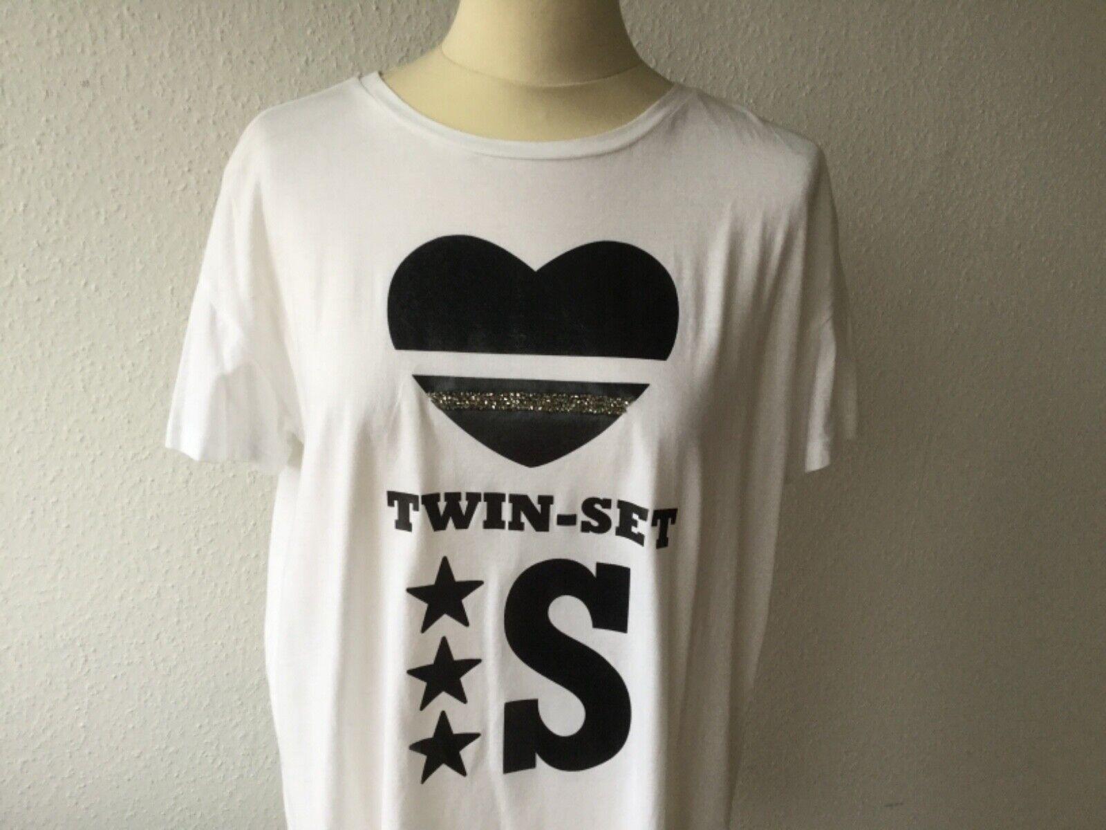 TWIN-SET T-Shirt Shirt Gr. S KA weiß mit schwarzem Aufdruck overGröße Baumw.