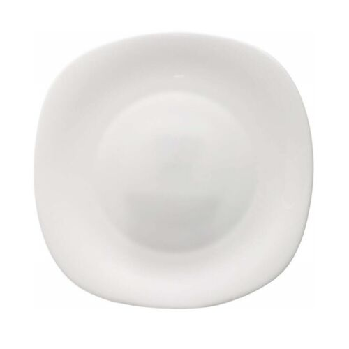 4 Bormioli Rocco 27cm Parma Tempered Opal Glass Dinner Plates Rounded Square
