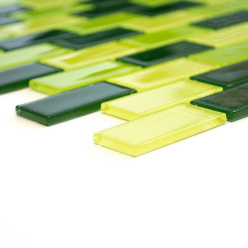 Mosaïque Carreau décalé Glasmosaik mix Vert Clair//Vert//Vert Foncé Mur 66-0506/_b