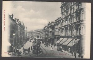 Postcard-Belfast-Northern-Ireland-early-animated-view-of-Donegall-Place