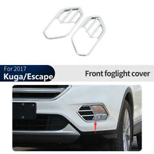 Silver BEHAVE dd7164w Kuga Car Fog Light Cover,Ford Accessories Custom Chrome Tail Light Front Light Lamp Cover Bezel Trim Auto Light Protective Cover,2 pcs Fit For Ford Edge 2015 2016 2017 2018