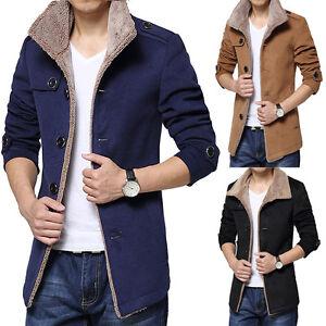 hombre-chaqueta-de-invierno-calido-abrigo-POLAR-PARKA-GABARDINA-Cuello-Entallado