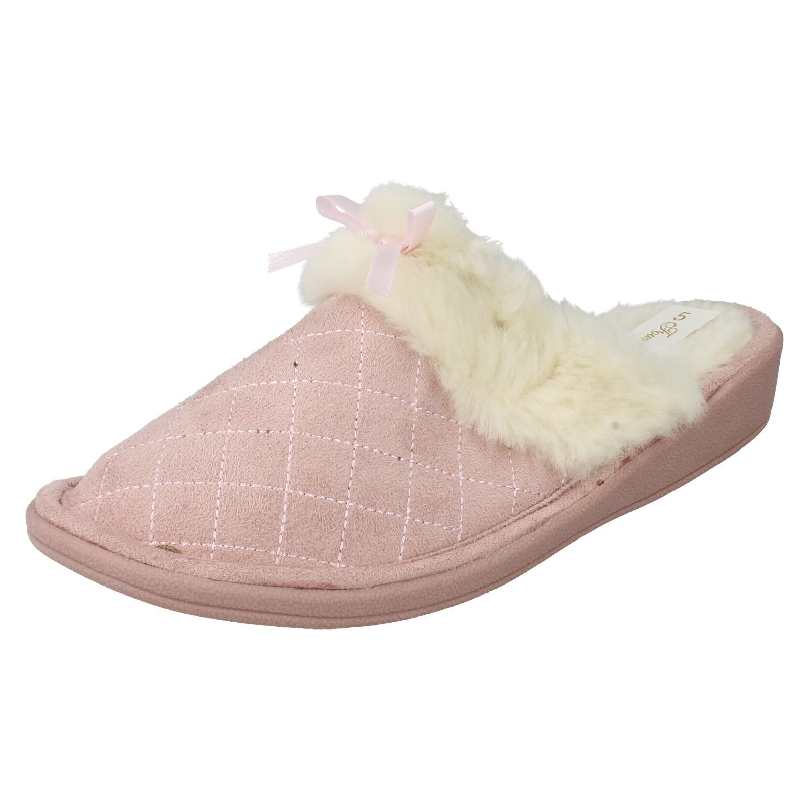 LADIES FOUR SEASONS F432 WARM SLIP ON MULES INDOOR FLUFFY SHOES BOW SLIPPERS