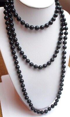 Beau Grand Collier Sautoir De 130 Cm Bijou Vintage Perles De Porcelaine Noir P