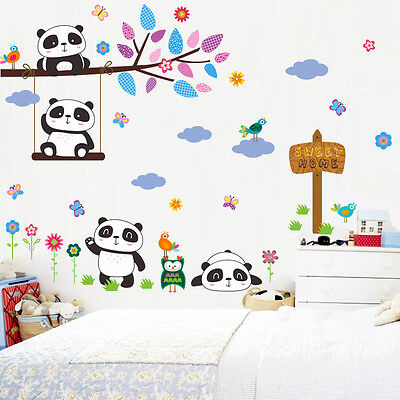 Swing Panda Sweet Home Owl Birds Tree Wall Sticker Kids Room Nursery Decor Decal