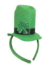 St. Patrick's Day Green Shamrock Top Hat Felt Headband Costume Accessory
