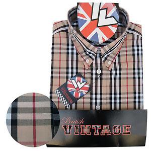 Warrior-Short-Sleeve-Button-Down-Shirt-MOTOWN-Mod-Skinhead-Beige-Red-Black-White