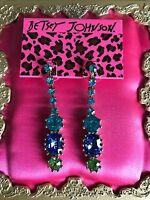 Betsey Johnson Blue Lagoon Turquoise Sea Jewel Stone Crystal Green Earrings Rare