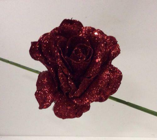 Pack x 4 Clip On Glittered Roses Floral Decorations Artificial Flowers Red