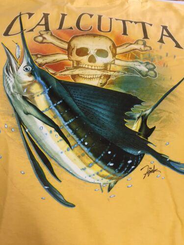 Gold Sailfish Logo Short Slv NEW Authentic Calcutta T-Shirt Sz Large
