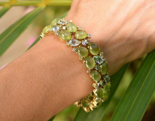 18kt Y/Gold Peridot, Aquamarine (56.5cttw) & Diamond (.65cttw) Bracelet by Ebay Seller