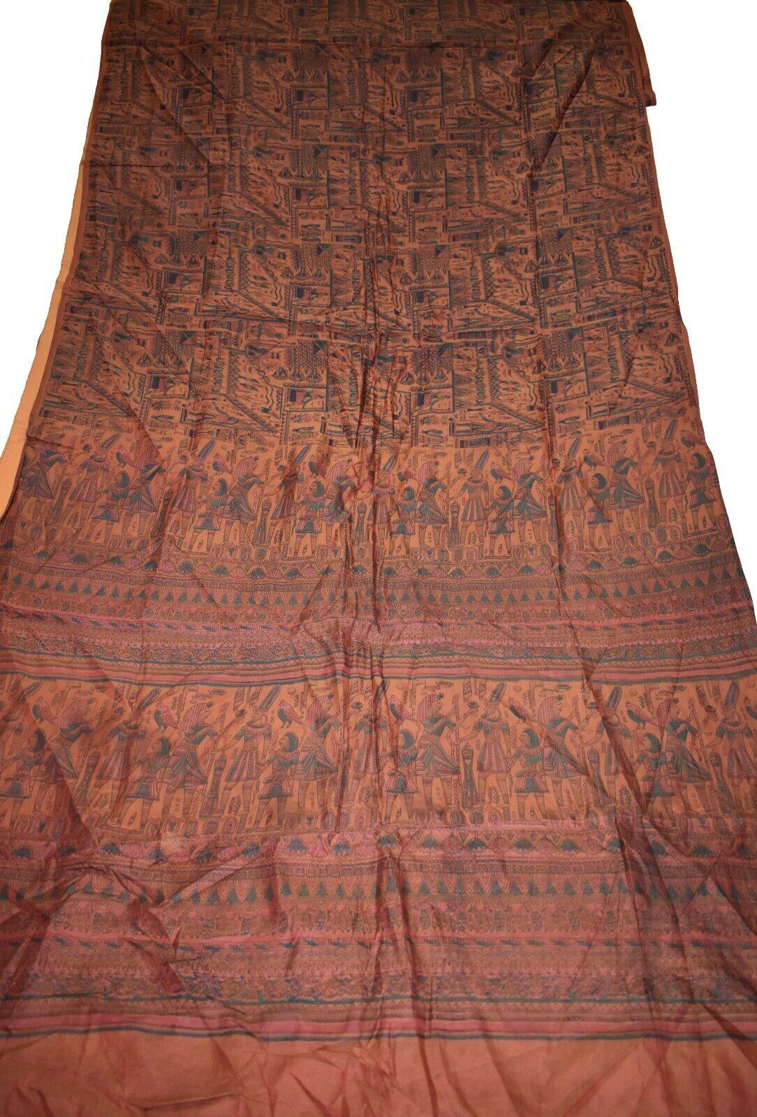 Vintage Printed Sari Brown Pure Silk Mythological Print 5Yrd Saree Design Craft