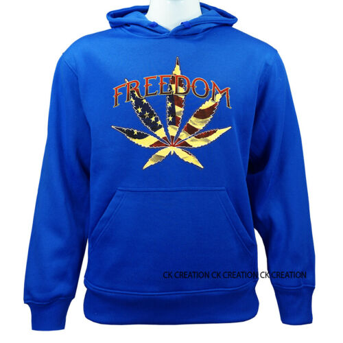 Freedom With Leaf Funny Joke Humor Casual Graphic Pullover Hoodie