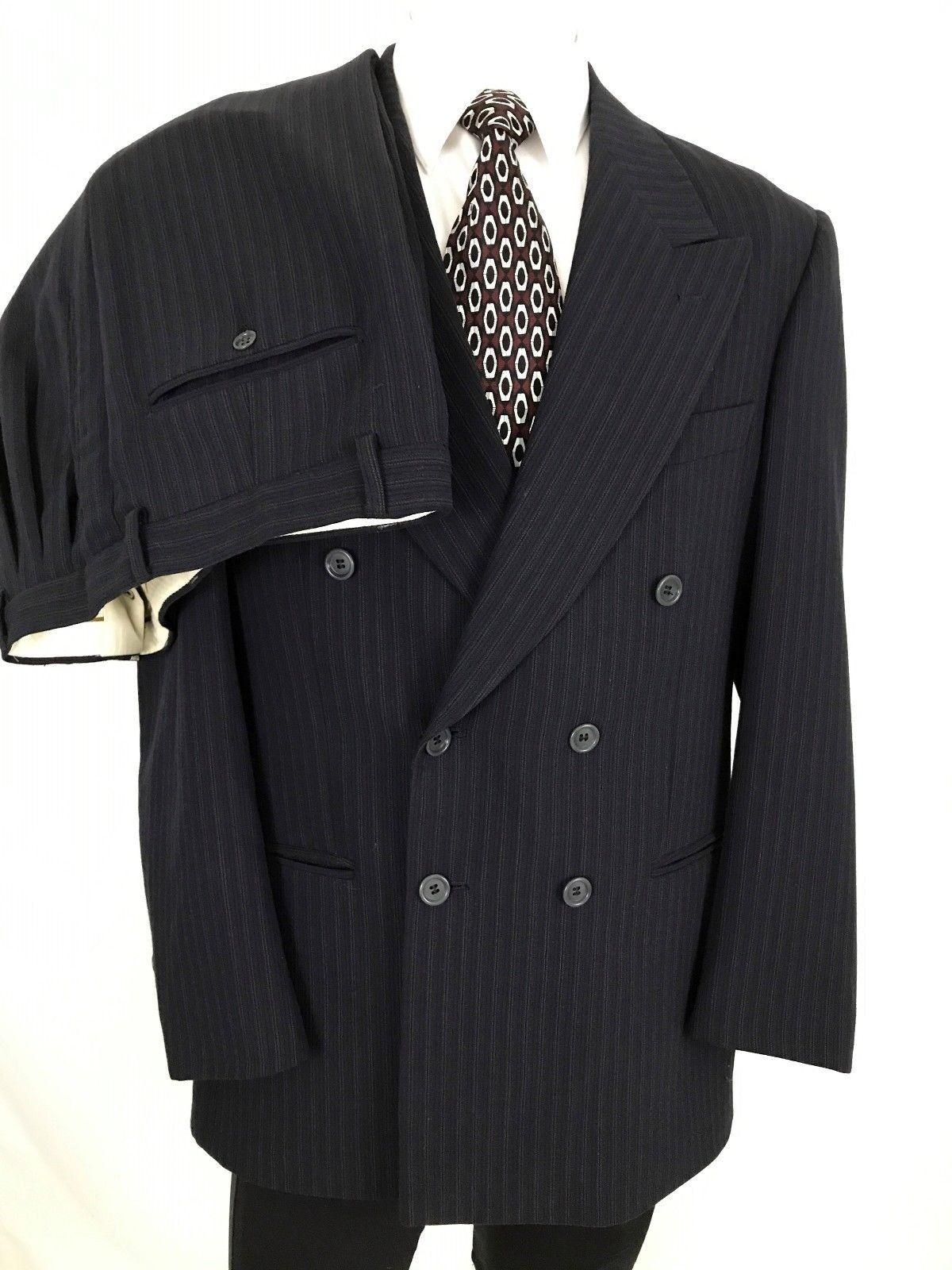 Zanetti Italian Double Breasted  Herren Suit 40R 32 x 30 Navy Blau Braun Pinstripe