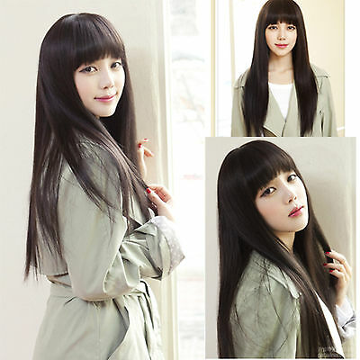fashion sexy womens nature black full long straight wigs cosplay smooth hair wig