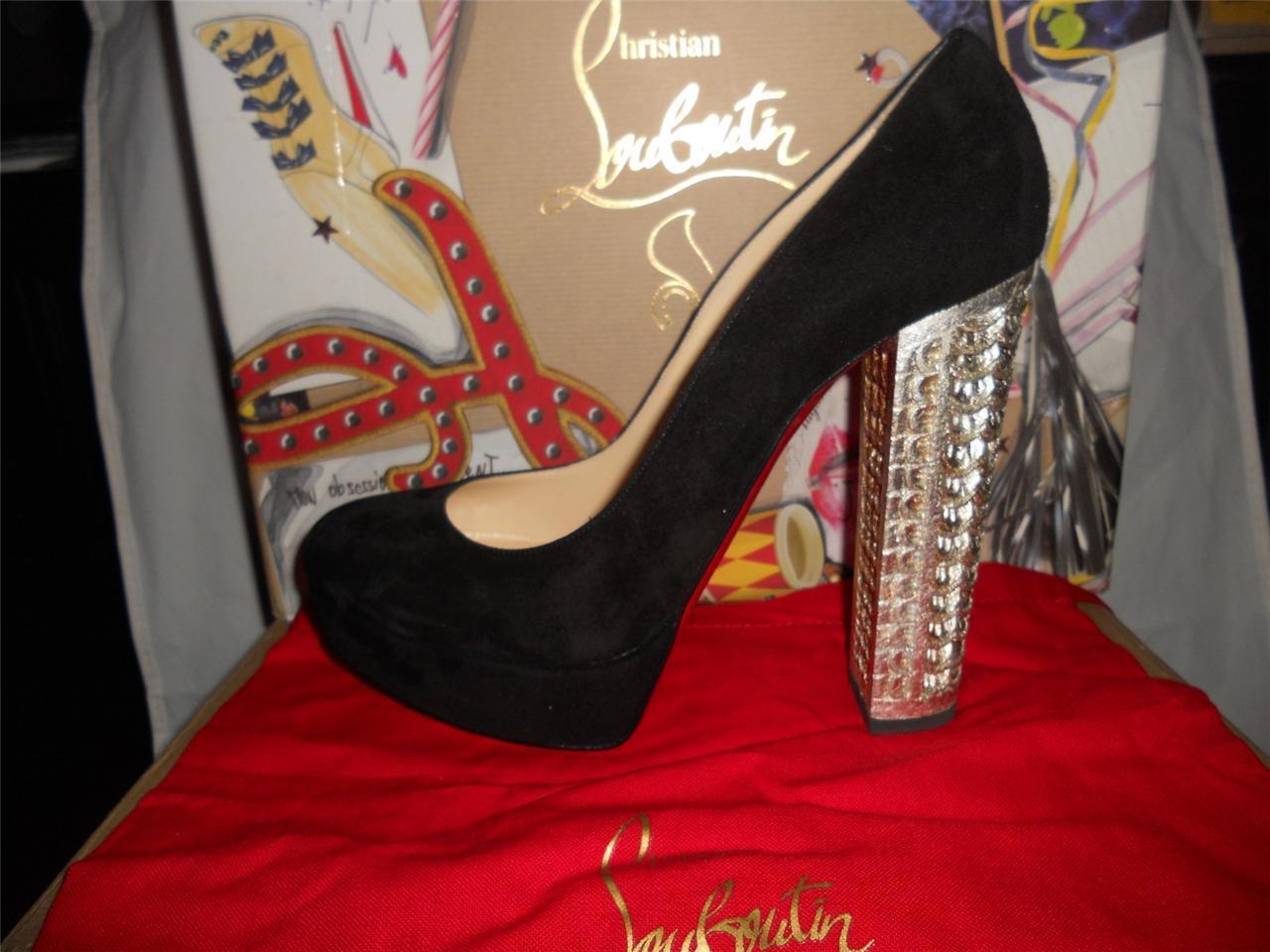Christian Louboutin BOIS DORE 20ANS Black Suede Platform Heels Heels Heels Pumps shoes  1395 4a76b3