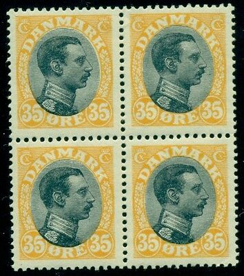 DENMARK #115 (149) 35ore Chr. X, Block of 4, og, NH, VF, Scott $120.00