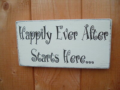 Rustic shabby /& chic wedding sign happily ever after starts here sign
